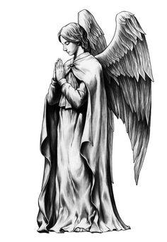 17번째 이미지 Tattoo Sketches, Tattoo Drawings, Statue Tattoo, Angel Drawing, Angel Tattoo Designs, Angel And Devil, Tattoo Project, Angel Statues, T Art