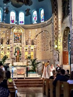 Wedding ceremony at The Shrine of Our Lady of Pompeii in Chicago