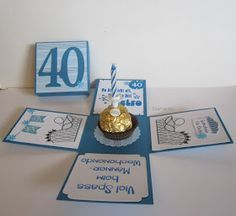 Birthday set for 40th birthday A blister box for a voucher and a first aid box for 40  year olds ;-) Birthday Gift For Wife, Happy Birthday Cards, 40th Birthday, Birthday In A Box, Birthday Explosion Box, Exploding Box Card, Diy And Crafts, Paper Crafts, Diy Cards