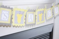 Baby Shower Yellow & Grey Polka Dot Stripe by DreamPartyPaperie, $25.00