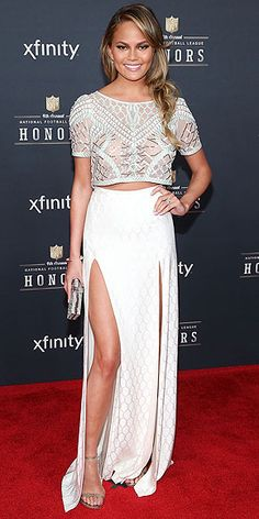 Even better than Chrissy Teigen's glam white maxi and top is the fact that she later wore it to Waffle House.