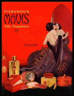 Vivadou's Mavis advert by Henry Clive 1920 http://vintage-spirit.blogspot.com/search?updated-max=2010-06-30T07%3A49%3A00%2B02%3A00&max-results=17