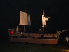 28' Pirate ship.  This had to be taken down every night during out hayride.  Canons fired along with muzzel loaders by skeleton crew.