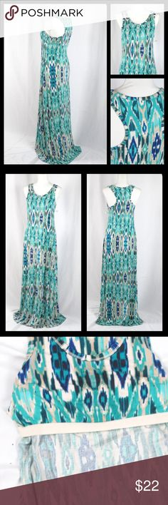 """Cynthia Rowley Racer Back Maxi Dress size S Cynthia Rowley southwestern maxi dress size S. Comfy and stretchy. Ikat print in blues, teal, & creams. Racer back.  Built in shelf/sport bra.  Length should to hem approx 59.5"""" Bust approx 34"""" Cynthia Rowley Dresses Maxi"""