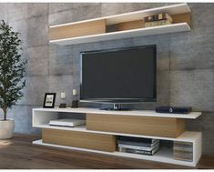 17 Different Types of Floating Shelves for TVs – Minimalismo – Anime pictures to hairstyles Tv Wall Design, Tv Unit Design, Bed Design, Floating Tv Shelf, Tv Stand And Entertainment Center, Modern Tv Wall Units, Living Room Tv, Bedroom Sets, Textured Walls