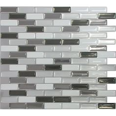 """Smart Tiles Mosaik 9.5"""" x 11"""" Mosaic in Gray & Black"""