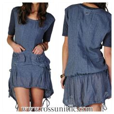 Double layered high low denim dress with pockets on the front and adjustable drawstrings on the hem. 70% Cotton, 30% Linen Sizes: S, M, L  Estimated to Arrive 5/2/14