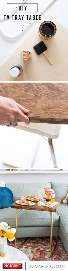 This DIY TV Tray Table from our partner, @Sugar & Cloth - For DIY Living, is special for enjoying date night in with pizzeria! & your favorite film. Supplies: pizzeria!, white adjustable tray, spray paint, wood stain, foam brush, wood painting panel, liquid nails, shellac, sand paper. 1. Assemble tray. 2. Spray paint. 3. Use brush to stain painting panel; let dry. 4. Glue wood panel over flat surface of table; let dry. 5. Shellac entire table; let dry. 6. Cook pizzeria!; serve on table…