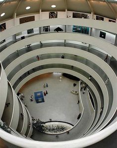 The Guggenheim Museum in New York designed by Frank Lloyd Wright demonstrates sequence as the space spirals from floor to ceiling, creating a pathway from people to walk and view artworks in set out sequence.