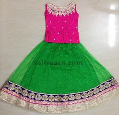 Green and Pink Stones Skirt - Indian Dresses