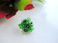 Green Beaded Brooch by VikaRepka. Beaded Jewellery, Handmade Beaded Jewelry, Beaded Brooch, Rainbow, Green, Rainbows, Rain Bow