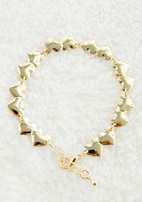 Gold Hearts Link Bracelet
