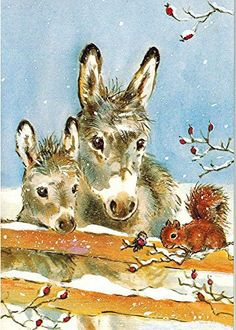 Dois burrinhos e um esquilo na neve.