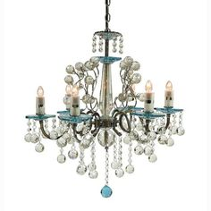 creative creations lighting. Creative Creations Rovello Iron Six Light Crystal Chandelier With Blue Glass On SALE Lighting C