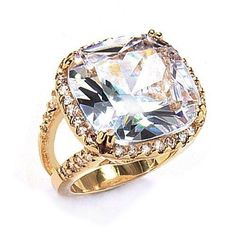 Bling Jewelry Plus Size Jewelry Gold Plated Cushion CZ Engagement Ring  #BlingJewelry, #Fashion, #Jewelry, #JewelryRings