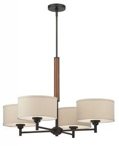 Four Light Bronze Drum Shade Chandelier   Lighting Elegance