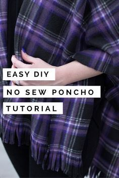 Looking for a last minute Christmas gift idea? This DIY poncho will cost you… Fleece Crafts, Fleece Projects, Easy Sewing Projects, Sewing Hacks, Sewing Tutorials, Fabric Crafts, Sewing Ideas, Diy Projects, Diy Poncho