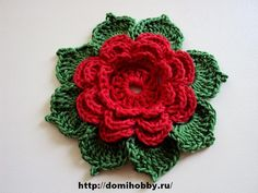 Flower with Leaves free crochet pattern