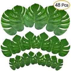 Kuuqa 48 Pcs Tropical Party Decor Artificial Plant Tropic...