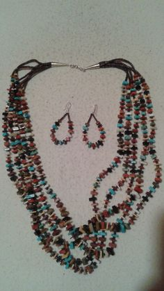 SANTO DOMINGO Indian Daniel CORIZ 5 Strand Necklace & Earrings, Spectacular Authentic Showpiece One-Of-A-Kind Huge Beautiful Multi Color #dc by RusticMoonTreasures on Etsy https://www.etsy.com/listing/488961492/santo-domingo-indian-daniel-coriz-5