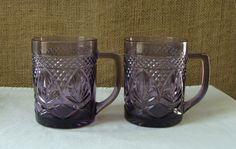 MID CENTURY Amethyst Glass Mugs by Poppycbrilliant on Etsy, $20.00