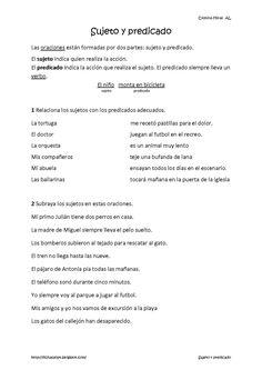 Cositas de AL y PT: Sujeto y predicado Spanish Grammar, Spanish Language Learning, Teaching Spanish, Teacher Tools, Teacher Hacks, Speech Language Therapy, Speech And Language, Daily 5 Stations, Spanish Worksheets