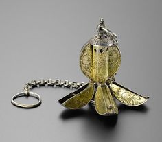 Silver gilded pomander, the second quarter of the 16th century, Germany, Length: (with chain) 18.5 cm, Diameter: (open) 6.5 cm