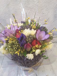 A #Lavender basket of scented, spring #hyacinths, #freesias, #narcissi, #tulips, #ranunculuc and #anemones. Tulips, Bouquets, Lavender, Basket, Seasons, Table Decorations, Spring, Home Decor, Decoration Home
