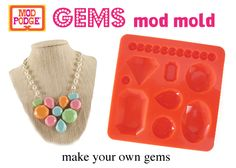 You can now make your own gems with our new gems mold for Mod Podge. The molds work perfectly with Mod Melts, Clay. even Chocolate! Jewelry Making Tutorials, Craft Tutorials, Mod Podge Crafts, Diy Crafts, Clay Jewelry, Jewelry Crafts, How To Dye Fabric, Dyeing Fabric, Mod Melts