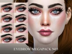 8 brows in 14 colors, for all ages and genders. Found in TSR Category 'Sims 4 Hair Sets'