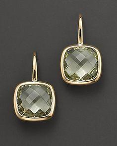 green amethyst earrings, yellow gold Bloomingdales ($350)