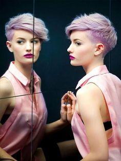 daring short hair - undercut hair with lilac hair color
