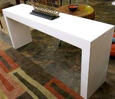 White Parsons Style Console Table