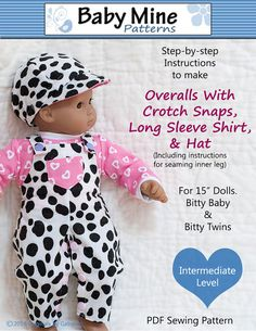 Baby Mine Bitty Baby Overalls Bundle Doll by PixieFairePatterns, $5.99