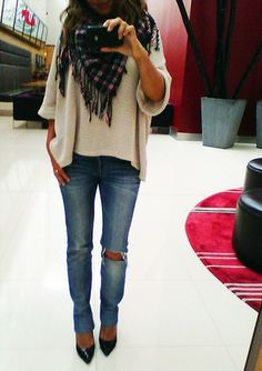 Skinny Jeans, Pointy Pumps, Over Sized Sweater & Scarf - Click for More... -Love this look, especially the scarf, I don't do pointy shoes though, they jack your feet