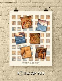 BIRTH of VENUS Scrabble Tile Images / Printable Images for Scrabble Tile Pendants / 0.75 inch x 0.83 inch Rectangle Digital Collage Download Digital Form, Digital Collage, Digital Image, Printable Scrabble Tiles, Giorgio Vasari, The Birth Of Venus, Bottle Cap Images, Collage Sheet, Gift Tags