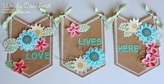 Love Lives Here banner, Flower Patch stamp set, flower fair framelits, celebration banner kit http://www.luvinstampin.com/2014/06/love-lives-here-home-decor-banner_2405.html