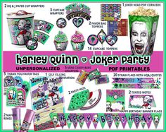 Harley Quinn Joker party printables Suicide Squad by CutOutAndPlay