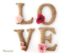 【SOLD OUT】** LOVE ** お花のアルファベットオブジェ / ウェディングのウェルカムスペースなどに♪ wooden letters / party babyshower お誕生日会