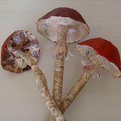 Paper mache mushrooms.
