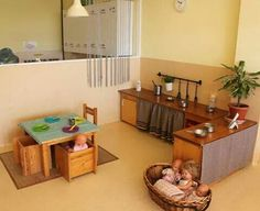 indoor environment, dramatic play, pretend area, home Reggio Classroom, Classroom Layout, Toddler Classroom, Classroom Decor, Dramatic Play Area, Dramatic Play Centers, Home Daycare, Preschool At Home, Play Spaces