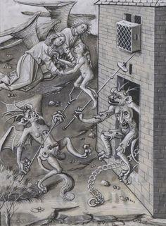Bibliothèque nationale de France, Français 9198, detail of f. 70r (the consolation of the dying man). Vie et miracles de Notre Dame arranged by Jean Miélot (1456).