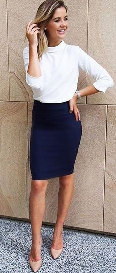 #summer #outfits White Top + Black Pencil Skirt + Nude Pumps