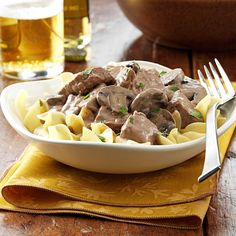 Steak Stroganoff Recipe -This slow cooker recipe makes a traditional dinner completely fuss-free. Tender sirloin steak with a flavorful gravy is served over noodles for a home-style meal. Your whole family is sure to request it time and again. —Lisa VanEgmond, Annapolis, Illinois