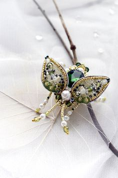 Luxury Beetle brooch pearl white grass green Scarf pin Insect jewelry art OOAK Statement Graduation gift for sister Unique gift for mother