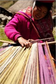 The iconographic traditions of today's Quechua weavers are rich with surprising innovation. These women may be carrying on ancient hand-woven patterns and loom techniques from pre-Inca times, but this is a living art form. Many things have changed but many things have remained the same - the earth, its animals, and the elements as central to Andean weaving both in providing raw materials and inspiration for symbols.