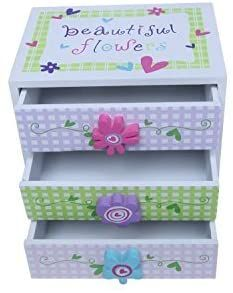 Amazon.com: Kids Jewelry Box - Colorful Flower Compartment Drawer - Small Square Accessories Box - 6L x 4.5W x 6H: Home & Kitchen Kids Jewelry Box, Colorful Flowers, Drawer, Decorative Boxes, Dolls, Amazon, Kitchen, American Girl, Accessories