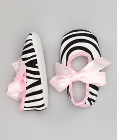 Take a look at this Pink Zebra Bow Shoe by Dance Bug on #zulily today!