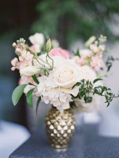 Ivory Flowers in Gold Bud Vase Floral Wedding, Wedding Flowers, Unique Flower Arrangements, Vase Arrangements, Small Centerpieces, Diy Wedding Decorations, Wedding Ideas, Bud Vases, Wedding Centerpieces