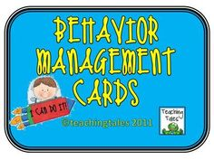 FREE Behavior Management Cards from Leanne Baur on TeachersNotebook.com (8 pages)